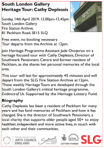 SLG Heritage Tour: Peckham with Cathy Deplessis @ South London Gallery Fire Station